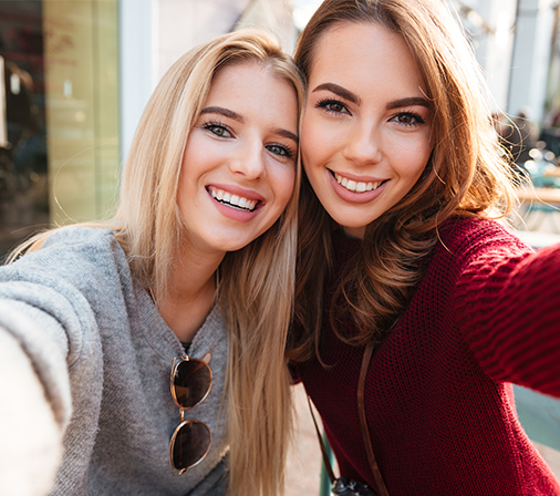 two young women taking a selfie